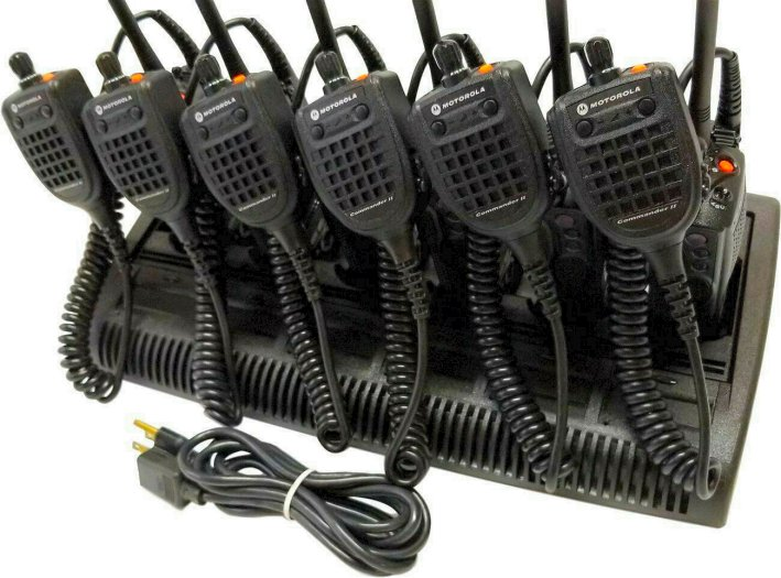6 x Motorola XTS5000 II VHF Two Way Radio w/ IMPRES Bank Charger